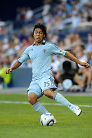 Roger Espinoza Sporting KC midfielder in action... Sporting Kansas City defeated Real Salt Lake 2-0 at LIVESTRONG Sporting Park, Kansas City, Kansas.