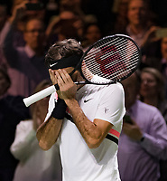 Rotterdam, The Netherlands, 16 Februari, 2018, ABNAMRO World Tennis Tournament, Ahoy, Tennis, Roger Federer (SUI) wins the quarter finals and becomes the oldest Nr1 in tennis history and gets emotional.<br />