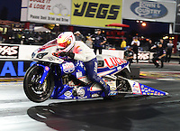 Sept. 16, 2012; Concord, NC, USA: NHRA pro stock motorcycle rider Hector Arana Jr during the O'Reilly Auto Parts Nationals at zMax Dragway. Mandatory Credit: Mark J. Rebilas-