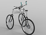 Afari mobility aid, 2010-14. Designed by Elizabeth Dopey and Stephen Gilson. Manufactured by Mobility Technologies. Aluminum, BMX bike wheels, bike components. Photo courtesy of Mobility Technologies