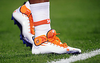 Jan 10, 2011; Glendale, AZ, USA; Under Armour shoes of an Auburn Tigers player before the 2011 BCS National Championship game against the Oregon Ducks at University of Phoenix Stadium.  Mandatory Credit: Mark J. Rebilas-