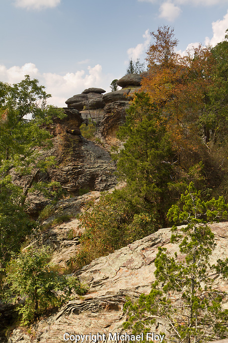 Rock formations viewed from hiking trail in the Garden of the Gods park located in Southeastern Illinois.