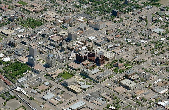 Aerial of downtown Colorado Springs, Colorado. June 2014. 85578