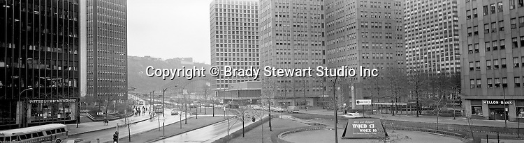 Pittsburgh PA:  View of Gateway Center from the 2nd Floor offices of Brady Stewart Studio located in the Empire Building - 1970.