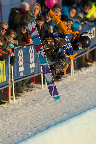 26.02.2016. Wyller Oslo Winter Park, Oslo, Norway. Red Bull X Games. Ladies Snowboard SuperPipe Final  Hikaru Oe of Japan competes in the Ladies Snowboard SuperPipe Final  during the X Games Oslo 2016 at the Wyller Oslo winter park in Oslo, Norway.
