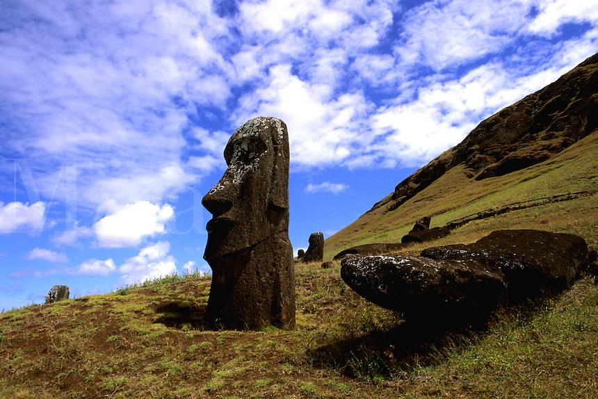 Rano Raraku Moai Statues Abstracts Easter Island during Tapati Festival Rapa Nu