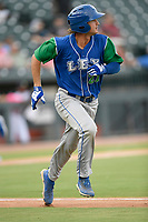 First baseman Reed Rohlman (21) of the Lexington Legends runs toward first base in a game against Columbia Fireflies on Thursday, June 13, 2019, at Segra Park in Columbia, South Carolina. Lexington won, 10-5. (Tom Priddy/Four Seam Images)