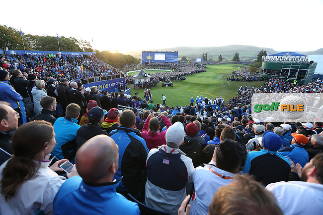 during the Morning Fourballs on Day 1 at the 40th Ryder Cup, The Gleneagles Hotel, Perthshire from 26th to 28th September 2014<br /> Picture Thos Caffrey, www.golffile.ie