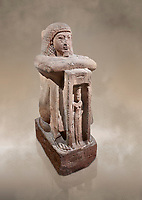 "Ancient Egyptian statue of Qen, priest of Anukis, sanstone, New Kingdom, 19th Dynasty, (1292-1191 BC), Isalnd of sehel. Egyptian Museum, Turin. <br /> <br /> Qen was a ""gods father of Amon of Elephantine and of Khnum, Satis and Anukis"". Elephantine is a Greek name of the present day Aswan. The naos, shrine, contains a female wearing a high plumed headdress. She is Anukis goddess of the Nile flood. With the ram-heahed god Khum and the goddess Satis, she formed the triad of the Elephantine. The statue probably comes from the temple of the Triad on Sehel Island just south of Elephantine.. Drovetti collection. Cat 3016."