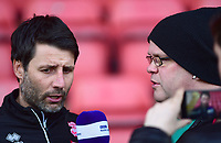 Lincoln City manager Danny Cowley speaks to Michael Horton of BBC Lincolnshire during the pre-match warm-up<br /> <br /> Photographer Andrew Vaughan/CameraSport<br /> <br /> The EFL Sky Bet League Two - Crewe Alexandra v Lincoln City - Wednesday 26th December 2018 - Alexandra Stadium - Crewe<br /> <br /> World Copyright &copy; 2018 CameraSport. All rights reserved. 43 Linden Ave. Countesthorpe. Leicester. England. LE8 5PG - Tel: +44 (0) 116 277 4147 - admin@camerasport.com - www.camerasport.com