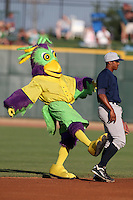 Mascot BirdZerk! kicks Reggie Williams #18 trying to get the Beloit Snappers second baseman to dance during a game against the Great Lakes Loons at Dow Stadium on July 22, 2011 in Midland, Michigan.  Great Lakes defeated Beloit 5-2.  (Mike Janes/Four Seam Images)