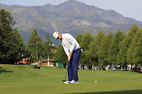 Marcel Siem (GER) putts on the 10th green during Thursday's Round 1 of the 2017 Omega European Masters held at Golf Club Crans-Sur-Sierre, Crans Montana, Switzerland. 7th September 2017.<br /> Picture: Eoin Clarke | Golffile<br /> <br /> <br /> All photos usage must carry mandatory copyright credit (&copy; Golffile | Eoin Clarke)