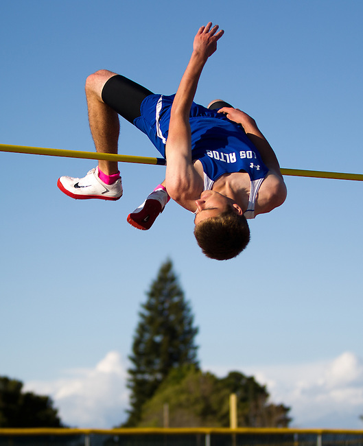 "Milpitas at Los Altos Track Meet, April 5, 2012...Danny Yeager clears 6'4"" on the high jump, a personal best."
