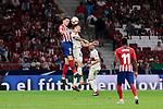 Atletico de Madrid's Nikola Kalinic and SD Huesca's Damian Marcelo Musto during La Liga match between Atletico de Madrid and SD Huesca at Wanda Metropolitano Stadium in Madrid, Spain. September 25, 2018. (ALTERPHOTOS/A. Perez Meca)