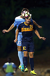 13 September 2016: ETSU's Fletcher Ekern (24) and North Carolina's Walker Hume (37) challenge for a header. The University of North Carolina Tar Heels hosted the East Tennessee State University Buccaneers at Fetzer Field in Chapel Hill, North Carolina in a 2016 NCAA Division I Men's Soccer match. ETSU won the game 1-0 in sudden death overtime.