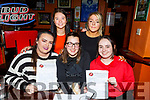 Vickie Stone, Deana Devane, Katie Donoghue, Emma Lonergan and Adele Hennessy supporting the Tralee Dynamos fundraising quiz in the Huddle Bar on Thursday night.