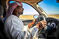 Driving to Wadi Gemal National Park with the Red Sea in the background.