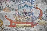 Ambulatory of the Great Hunt Roman mosaic, small boat, room no 28, at the Villa Romana del Casale, first quarter of the 4th century AD. Sicily, Italy. A UNESCO World Heritage Site.<br /> <br /> The Great Hunt ambulatory is around 60 meters long (200 Roman feet) and connects the master's northern apartments with the triclinium in the south. The door in the centre of the the Great Hunt ambulatory leads to audience hall. <br /> <br /> The Great Hunt Roman mosaic depicts African animals being hunted and put onto ships to be taken to the Colosseum.
