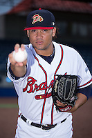 Danville Braves pitcher Jordy Lara (50) poses for a photo prior to the game against the Pulaski Yankees at American Legion Post 325 Field on August 2, 2016 in Danville, Virginia.  The game was cancelled due to rain.  (Brian Westerholt/Four Seam Images)