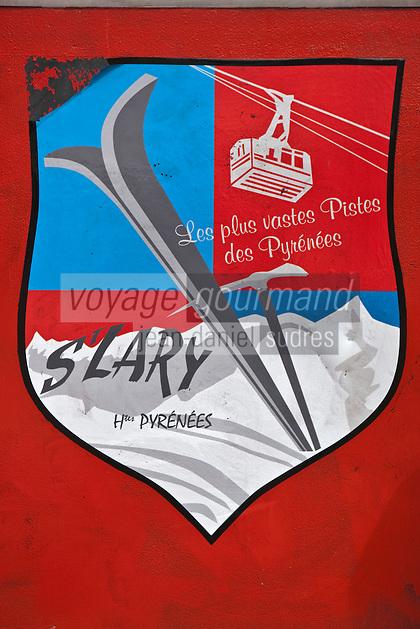 Europe/France/Midi-Pyrénées/65/Hautes-Pyrénées/Vallée d'Aure/Saint-Lary-Soulan: Blason de la station de ski sur la cabine du téléphérique