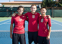 Senior members with the Stanford Men's Tennis Team. Photo taken on Monday, September 23, 2013.