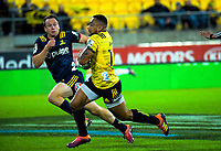 Ngani Laumape heads for the tryline during the Super Rugby match between the Hurricanes and Highlanders at Westpac Stadium in Wellington, New Zealand on Friday, 1 March 2019. Photo: Dave Lintott / lintottphoto.co.nz