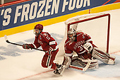 Clay Anderson (Harvard - 5), Merrick Madsen (Harvard - 31) - The University of Minnesota Duluth Bulldogs defeated the Harvard University Crimson 2-1 in their Frozen Four semi-final on April 6, 2017, at the United Center in Chicago, Illinois.