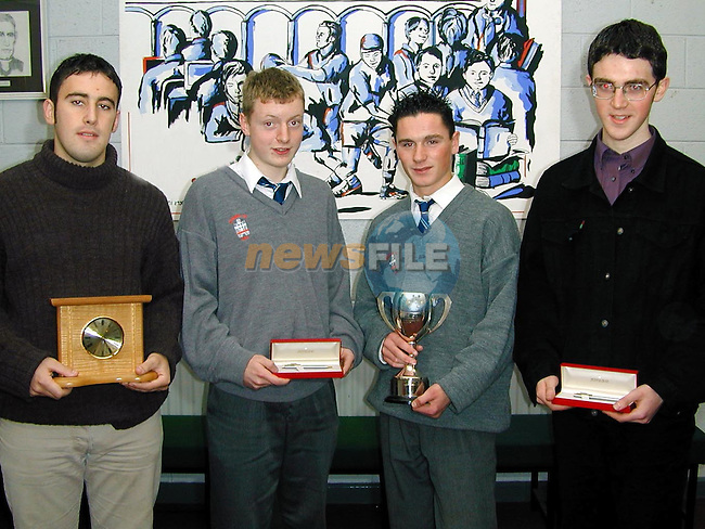 Aengus McHugh, best Leaving Cert, Ivor Sommerville, Sportstar of the year, Ambrose Carr, best Junior Cert and Justin Byrne, last year's sportstar of ther year..Picture Paul Mohan Newsfile