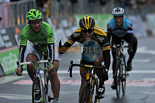 Gerald Ciolek (GER) MTN-Qhubeka wins the 2013 Milan-San Remo race with Peter Sagan (SVK) Cannondale in 2nd place, the race was shortened due to snow. 17th March 2013.     <br /> Photo: Gian Mattia D'Alberto/LaPresse/www.newsfile.ie