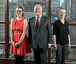 Molly Seeley, Mark McGreevy and Kat Johnson (left to right) make up the staff of the Institute of Global Homelessness (IGH) at DePaul University in Chicago. The Institute of Global Homelessness is a partnership between DePaul University and Depaul International. Their goal is to support the emerging global movement to end homelessness led from the ground, guided by actionable research and supported by effective policy.  (DePaul University/Jamie Moncrief)