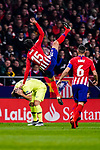 Stefan Savic of Atletico de Madrid (R) is challenged by Luis Suarez of FC Barcelona (L) during the La Liga 2018-19 match between Atletico Madrid and FC Barcelona at Wanda Metropolitano on November 24 2018 in Madrid, Spain. Photo by Diego Souto / Power Sport Images