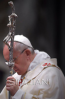 Pope Francis during a priests ordination ceremony in St Peter's Basilica at the Vatican.  on May 11, 2014