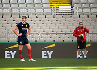 Owen Farrell waits for the ball as Inpho photographer Dan Sheridan (right) looks on during the 2017 DHL Lions Series British & Irish Lions kicking practice at Eden Park in Auckland, New Zealand on Friday, 7 July 2017. Photo: Dave Lintott / lintottphoto.co.nz
