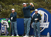 23.09.2014. Gleneagles, Auchterarder, Perthshire, Scotland.  The Ryder Cup.  Thomas Bjorn (EUR) tees off on the 18th hole during his practice round.