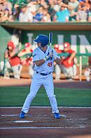Matt Cogan (49) of the Ogden Raptors bats against the Orem Owlz at Lindquist Field on June 19, 2018 in Ogden, Utah. The Raptors defeated the Owlz 7-2. (Stephen Smith/Four Seam Images)