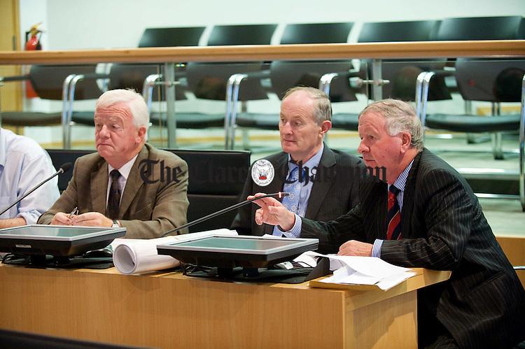 Councillor Christy Curtin, Councillor Pat Keane and Councillor Gabriel Keating at the Kilrush electoral area AGM at Aras an Chlair. Photograph by John Kelly.