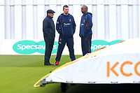 Umpire Ian Gould (L), Peter Siddle and Dimitri Mascarenhas inspect the pitch during Yorkshire CCC vs Essex CCC, Specsavers County Championship Division 1 Cricket at Emerald Headingley Cricket Ground on 15th April 2018