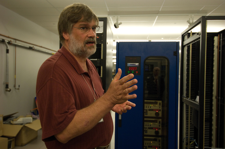 Steve Nease Chief Technology Officer gives a tour of the new Library of Congress Packard Campus in Culpeper Virginia. Here he shows of the SAMMA machine or the systems for the automated migration of media assets.