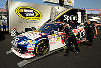 Apr 25, 2009; Talladega, AL, USA; The car of NASCAR Sprint Cup Series driver Dale Earnhardt Jr goes through tech inspection during qualifying for the Aarons 499 at Talladega Superspeedway. Mandatory Credit: Mark J. Rebilas-