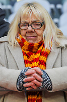 20191221 - LENS , FRANCE : famous Lens's fan Louisette pictured before the soccer match between Racing Club de LENS and Niort , on the 19 th matchday in the French Ligue 2 at the Stade Bollaert Delelis stadium , Lens . Saturday 21 December 2019. PHOTO STIJN AUDOOREN   SPORTPIX.BE