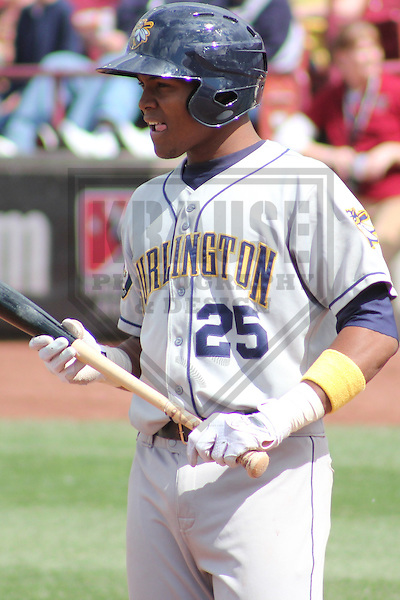 APPLETON - MAY 2011: Yordy Cabrera (25) of the Burlington Bees, Class-A affiliate of the Oakland A's, during a game on May 23, 2011 at Fox Cities Stadium in Appleton, Wisconsin. (Photo by Brad Krause) ........