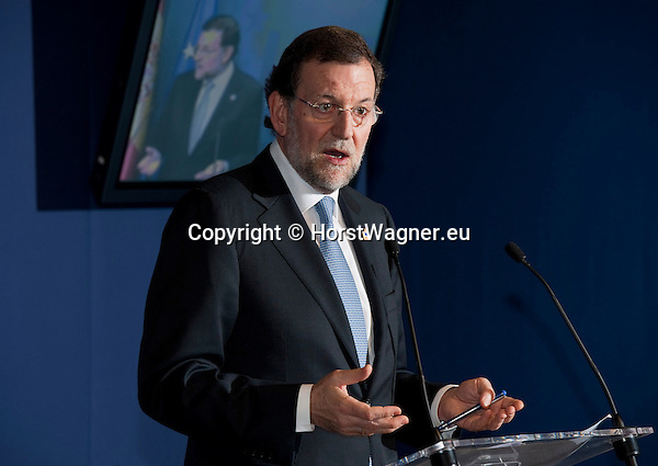 Brussels-Belgium - January 30, 2012 -- Extraordinary European Council, EU-summit, meeting of Heads of State / Government; here, Mariano RAJOY BREY, Prime Minister of Spain, briefs the press after his first participation in such a meeting on European level -- Photo: © HorstWagner.eu
