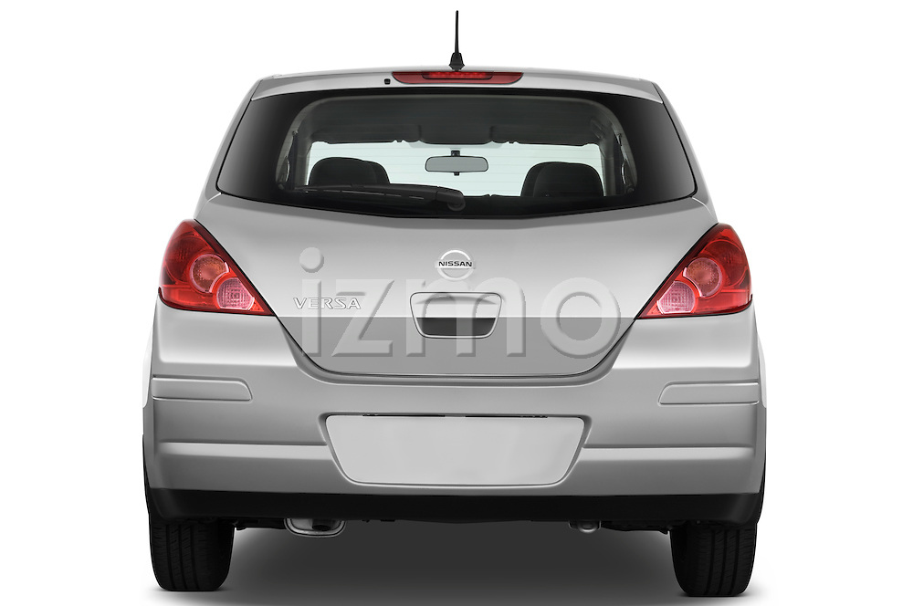 Straight rear view of a 2009 Nissan Versa Hatchback