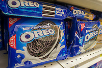 Boxes of Mondelez International Oreo Cookies on a supermarket shelf in New York on Wednesday, February 12, 2014.  The Deerfield, MI based company reported a lower than expected profit citing poor Oreo sales in China as one of the causes. The company was formerly Kraft Foods Inc. and split off focusing on global brands. They also announced that they were raising prices and expect to see weaker sales in the first quarter as consumers cut back on purchases. (© Richard B. Levine)