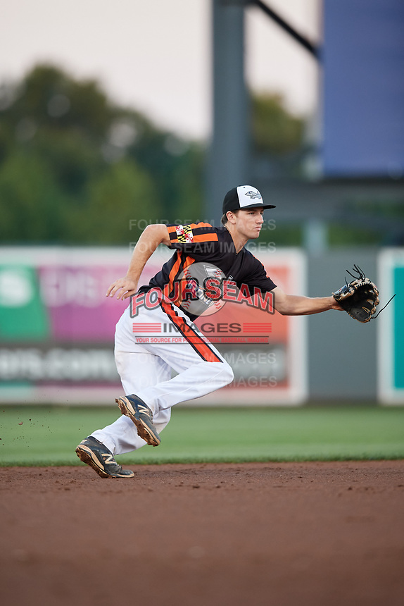 Aberdeen IronBirds shortstop Adam Hall (1) ranges to his left during a game against the Staten Island Yankees on August 23, 2018 at Leidos Field at Ripken Stadium in Aberdeen, Maryland.  Aberdeen defeated Staten Island 6-2.  (Mike Janes/Four Seam Images)