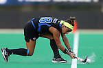 19 September 2014: Duke's Hannah Barreca. The Duke University Blue Devils hosted the University of Virginia Cavaliers at Jack Katz Stadium in Durham, North Carolina in a 2014 NCAA Division I Field Hockey match. Virginia won the game 2-1.