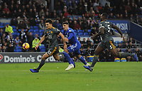 Leicester City's Harry Maguire under pressure from Cardiff City's Callum Paterson<br /> <br /> Photographer Kevin Barnes/CameraSport<br /> <br /> The Premier League -  Cardiff City v Leicester City - Saturday 3rd November 2018 - Cardiff City Stadium - Cardiff<br /> <br /> World Copyright © 2018 CameraSport. All rights reserved. 43 Linden Ave. Countesthorpe. Leicester. England. LE8 5PG - Tel: +44 (0) 116 277 4147 - admin@camerasport.com - www.camerasport.com