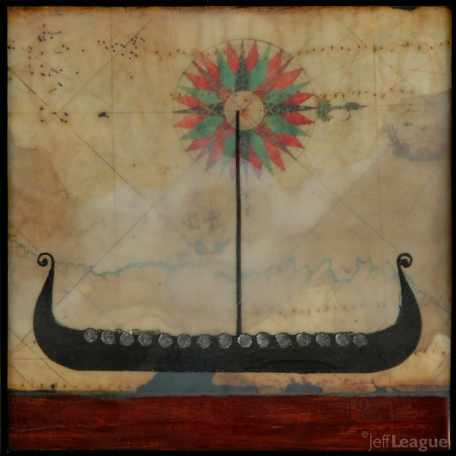 Mixed media encaustic painting over antique map with compass rose. Viking long boat over red sea.