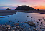 Harris Beach State Park, Oregon:<br /> Sunset on Harris Beach with stream reflections of sky colors