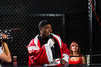 October 13, 2012, Delran, New Jersey, USA: Derek Frazier addresses the crowd after fighting Geraldo Rios for the MTV reality show Made at It's On Boxing/MMA.